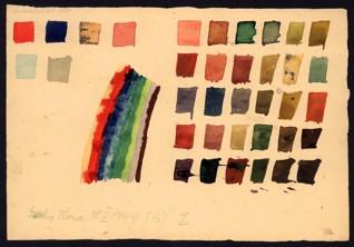 Cvičení – teorie barev - Hana Lustigová (1931-1944), 30. 5. 1944, akvarel a tužka na papíře, 17,2 x 25,2 cm, signováno a datováno vlevo dole: Lustig Hana 30. 5. 1944, 13 Z. Provenience: vytvořeno v hodinách kreslení organizovaných v letech 1943-1944 v terezínském ghettu malířkou a pedagožkou Friedl Dicker-Brandeis (1898-1944); ve sbírkách Židovského muzea v Praze od roku 1945 ŽMP inv. č. 121.997