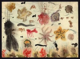 Fantazie z podmořského světa - Ruth Gutmannová (1930-1944), nedatováno (1943-1944), akvarel na papíře, 22 x 30 cm, signováno na reversu: Gutmann Ruth, L 410, Heim 28, 13 Jahre. Provenience: vytvořeno v hodinách kreslení organizovaných v letech 1943-1944 v terezínském ghettu malířkou a pedagožkou Friedl Dicker-Brandeis (1898-1944); ve sbírkách Židovského muzea v Praze od roku 1945 ŽMP inv. č. 131.806