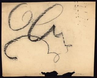 Kaligrafické cvičení - Petr Ginz (1928-1944), nedatováno (1943-1944), křída na paíře, 26 x 32,8 cm, nesignováno. Provenience: vytvořeno v hodinách kreslení organizovaných v letech 1943-1944 v terezínském ghettu malířkou a pedagožkou Friedl Dicker-Brandeis (1898-1944); ve sbírkách Židovského muzea v Praze od roku 1945 ŽMP inv. č. 131.620r