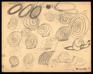 Kresebné cvičení – uvolnění ruky, rytmus - Josef Bäuml (1931-1944), nedatováno (1943-1944), tužka na papíře, 25 x 31,2 cm, signováno vlevo nahoře: Josef Bäuml 5. Provenience: vytvořeno v hodinách kreslení organizovaných v letech 1943-1944 v terezínském ghettu malířkou a pedagožkou Friedl Dicker-Brandeis (1898-1944); ve sbírkách Židovského muzea v Praze od roku 1945 ŽMP inv. č. 129.169v