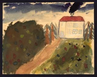 Cesta k domu - Hana Zieglerová (1933-1944), nedatováno (1943-1944), akvarel na papíře, 16,3 x 20,6 cm, signováno vpravo dole: H. Zieglerová. Provenience: vytvořeno v hodinách kreslení organizovaných v letech 1943-1944 v terezínském ghettu malířkou a pedagožkou Friedl Dicker-Brandeis (1898-1944); ve sbírkách Židovského muzea v Praze od roku 1945 ŽMP inv. č. 130.766