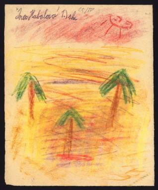 Oáza / Na plovárně - Jindřiška (Ina) Habalová (1932 – přežila), datováno: 25. 4. 1944, pastel na papíře, 21,5 x 17,2 cm, signováno vlevo nahoře: Ina Habalová 1. sk. Provenience: vytvořeno v hodinách kreslení organizovaných v letech 1943-1944 v terezínském ghettu malířkou a pedagožkou Friedl Dicker-Brandeis (1898-1944); ve sbírkách Židovského muzea v Praze od roku 1945 ŽMP inv. č. 131.432r / 131.432v