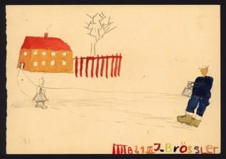 Vzpomínky na domov - Heinrich Brössler (1934 – přežil), nedatováno (1943-1944), tužka a akvarel na papíře, 14,7 x 21,1 cm, signováno vpravo dole: IIII B 21. 6. J. Brössler. Provenience: vytvořeno v hodinách kreslení organizovaných v letech 1943-1944 v terezínském ghettu malířkou a pedagožkou Friedl Dicker-Brandeis (1898-1944); ve sbírkách Židovského muzea v Praze od roku 1945 ŽMP inv. č. 131.442