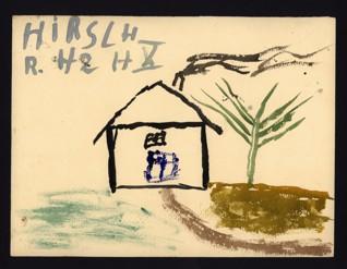 Dům v krajině - Robert Hirsch (1933-1944), nedatováno (1943-1944), akvarel na papíře, 20,7 x 27,7 cm, signováno vlevo nahoře: Hirsch R. H 2 H X. Provenience: vytvořeno v hodinách kreslení organizovaných v letech 1943-1944 v terezínském ghettu malířkou a pedagožkou Friedl Dicker-Brandeis (1898-1944); ve sbírkách Židovského muzea v Praze od roku 1945 ŽMP inv. č. 131.452