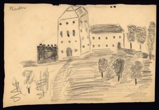 Dům v krajině - Hanuš Klauber (1932-1944), nedatováno (1943-1944), akvarel na papíře, 21 x 32 cm, signováno vlevo nahoře: Klauber. Provenience: vytvořeno v hodinách kreslení organizovaných v letech 1943-1944 v terezínském ghettu malířkou a pedagožkou Friedl Dicker-Brandeis (1898-1944); ve sbírkách Židovského muzea v Praze od roku 1945 ŽMP inv. č. 131.725