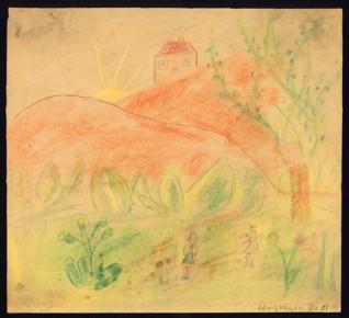 Zámek - Dorit Weiserová (1932-1944), datováno: 3. 5. 1944, tužka na papíře, 22,7 x 25 cm, signováno vpravo dole: Doris Weiser III. s. 3. 5. 1944.  Provenience: vytvořeno v hodinách kreslení organizovaných v letech 1943-1944 v terezínském ghettu malířkou a pedagožkou Friedl Dicker-Brandeis (1898-1944); ve sbírkách Židovského muzea v Praze od roku 1945 ŽMP inv. č. 131.731