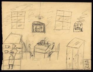 Letní krajina - Kurt Wurzel (1932-1944), nedatováno (1943-1944), pastel na papíře, 22,8 x 29,5 cm, signováno vpravo dole: H. VI. L 417 Kurt Wurzel. Provenience: vytvořeno v hodinách kreslení organizovaných v letech 1943-1944 v terezínském ghettu malířkou a pedagožkou Friedl Dicker-Brandeis (1898-1944); ve sbírkách Židovského muzea v Praze od roku 1945 ŽMP inv. č. 131.745