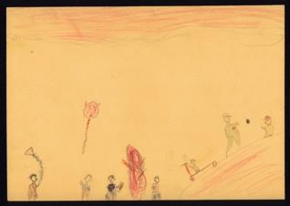 Pouštění draků (Vzpomínky na domov) - Zuzana Lieselotta Winterová (1933-1944), nedatováno (1943-1944), tužka a pastelky na papíře, 20,4 x 29 cm, signováno verso vpravo nahoře: Zuzka Winterová. Provenience: vytvořeno v hodinách kreslení organizovaných v letech 1943-1944 v terezínském ghettu malířkou a pedagožkou Friedl Dicker-Brandeis (1898-1944); ve sbírkách Židovského muzea v Praze od roku 1945 ŽMP inv. č. 133.361