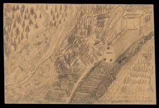 Vlak projíždějící krajinou - Petr Holzbauer (1932-1944), nedatováno (1943-1944), tužka na papíře, 20,4 x 30,3 cm, signováno vlevo dole: VI Holzbauer, 3. 4. (L 417, Heim 6). Provenience: vytvořeno v hodinách kreslení organizovaných v letech 1943-1944 v terezínském ghettu malířkou a pedagožkou Friedl Dicker-Brandeis (1898-1944); ve sbírkách Židovského muzea v Praze od roku 1945 ŽMP inv. č. 133.381