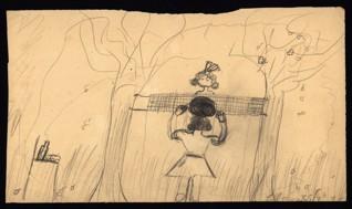Volejbal - Marianna Löblová (1933 – přežila), nedatováno (1943-1944), tužka na papíře, 17,5 x 30,3 cm, signováno vpravo dole: Löbl Máňa, II s., S/3. Provenience: vytvořeno v hodinách kreslení organizovaných v letech 1943-1944 v terezínském ghettu malířkou a pedagožkou Friedl Dicker-Brandeis (1898-1944); ve sbírkách Židovského muzea v Praze od roku 1945 ŽMP inv. č. 133.398
