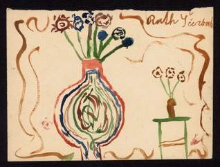 Květiny - Ruth Ščerbak (1934-1944), nedatováno (1943-1944), akvarel na papíře, 15,7 x 21,6 cm, signováno vpravo nahoře: Ruth Ščerbak. Provenience: vytvořeno v hodinách kreslení organizovaných v letech 1943-1944 v terezínském ghettu malířkou a pedagožkou Friedl Dicker-Brandeis (1898-1944); ve sbírkách Židovského muzea v Praze od roku 1945 ŽMP inv. č. 135.102