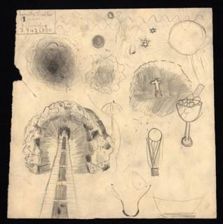 Květiny - Ernesta Tischler (1930-1944), datováno: 7. 9. 1943, tužka na papíře, 22,6 x 22,4 cm, signováno vlevo nahoře: Ernesta Tischler, 13 Jahre, 3. Stunde, 7. 9. 1943, C III 104. Provenience: vytvořeno v hodinách kreslení organizovaných v letech 1943-1944 v terezínském ghettu malířkou a pedagožkou Friedl Dicker-Brandeis (1898-1944); ve sbírkách Židovského muzea v Praze od roku 1945 ŽMP inv. č. 135.107