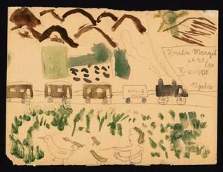 Vlak - Margit Koretzová (1930-1944), nedatováno (1943-1944), tužka a akvarel na papíře, 16,2 x 21,4 cm, signováno vpravo nahoře: Koretz Margit, L 410/16, X. Studne, 11 Jahre. Provenience: vytvořeno v hodinách kreslení organizovaných v letech 1943-1944 v terezínském ghettu malířkou a pedagožkou Friedl Dicker-Brandeis (1898-1944); ve sbírkách Židovského muzea v Praze od roku 1945 ŽMP inv. č. 154.798