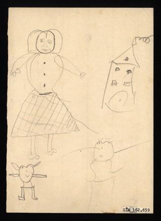 Vzpomínka na domov - Anna Becková (1931-1944), nedatováno (1943-1944), tužka na papíře, 14,9 x 21 cm, signováno vlevo nahoře: Becková Anni, C III 104, 4. Provenience: vytvořeno v hodinách kreslení organizovaných v letech 1943-1944 v terezínském ghettu malířkou a pedagožkou Friedl Dicker-Brandeis (1898-1944); ve sbírkách Židovského muzea v Praze od roku 1945 ŽMP inv. č. 162.659r / 162.659v