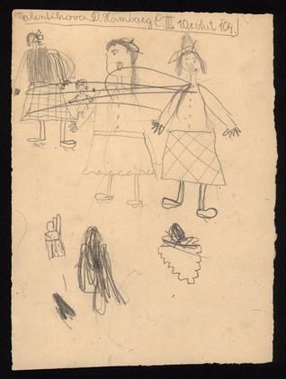 Figurální kresba - Jitka Walentiková (1933-1944), nedatováno (1943-1944), tužka na papíře, 23,2 x 16,9 cm, signováno vlevo nahoře: Valentiková D., Hamburg C III, 10 roků, 104. Provenience: vytvořeno v hodinách kreslení organizovaných v letech 1943-1944 v terezínském ghettu malířkou a pedagožkou Friedl Dicker-Brandeis (1898-1944); ve sbírkách Židovského muzea v Praze od roku 1945 ŽMP inv. č. 163.036r / 163.036v