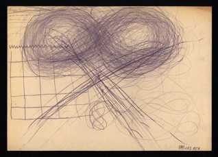 Náčrty předmětů / Cvičení na uvolnění ruky - Hana Erika Karplusová (1930-1944), nedatováno (1943-1944), tužka na papíře, 20,5 x 32,5 cm, signováno nahoře uprostřed: Hana Karplus, 13 Jahre, C III 104, 1. Stunde. Provenience: vytvořeno v hodinách kreslení organizovaných v letech 1943-1944 v terezínském ghettu malířkou a pedagožkou Friedl Dicker-Brandeis (1898-1944); ve sbírkách Židovského muzea v Praze od roku 1945 ŽMP inv. č. 163.056r / 163.056v