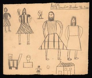 Kresebná cvičení - Emilie Straková (1934 - přežila), nedatováno (1943-1944), tužka na papíře, 17,5 x 20,6 cm, signováno recto vpravo nahoře: C III 104, Emilie Straka, 7. ph. 9 ro[ků]. Provenience: vytvořeno v hodinách kreslení organizovaných v letech 1943-1944 v terezínském ghettu malířkou a pedagožkou Friedl Dicker-Brandeis (1898-1944); ve sbírkách Židovského muzea v Praze od roku 1945 ŽMP inv. č. 163.061r / 163.061v