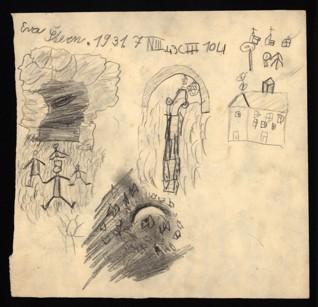 Studie světla a stínu - Eva Lora Sternová (1930 - přežila), nedatováno (1943-1944), tužka a pastel na papíře, 22,9 x 23,8 cm, signováno recto vlevo nahoře: Eva Štern, 1931, 7 N III, 43 C III 104. Provenience: vytvořeno v hodinách kreslení organizovaných v letech 1943-1944 v terezínském ghettu malířkou a pedagožkou Friedl Dicker-Brandeis (1898-1944); ve sbírkách Židovského muzea v Praze od roku 1945 ŽMP inv. č. 163.195r / 163.195v