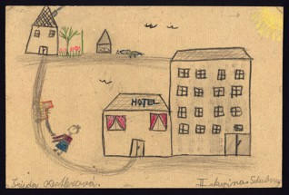 Městská scenérie - Gertruda Kestlerová (1932-1944), datováno: 5. 4. 1944, tužka, pastel a pastelky na papíře, 20,5 x 30,8 cm, signováno vlevo dole: Trůda Kestlerová, vpravo dole: II. skupina 5. dubna. Provenience: vytvořeno v hodinách kreslení organizovaných v letech 1943-1944 v terezínském ghettu malířkou a pedagožkou Friedl Dicker-Brandeis (1898-1944); ve sbírkách Židovského muzea v Praze od roku 1945 ŽMP inv. č. 131.363
