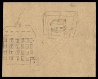 Městská scenérie - Neznámý autor (Stein ?), nedatováno (1943-1944), tužka na papíře, 20,5 x 25,1 cm, sekundárně značeno (patrně rukou učitele) vpravo nahoře: Stein. Provenience: vytvořeno v hodinách kreslení organizovaných v letech 1943-1944 v terezínském ghettu malířkou a pedagožkou Friedl Dicker-Brandeis (1898-1944); ve sbírkách Židovského muzea v Praze od roku 1945 ŽMP inv. č. 131.371r