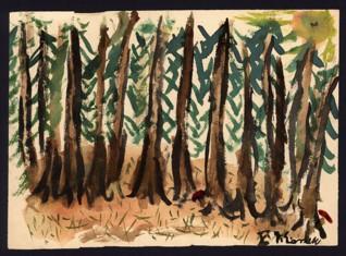 Les - Vilém Eisner (1933-1943), nedatováno (1943), akvarel na papíře, 15,2 x 21?3 cm, signováno vpravo dole: V. V. Eisner. Provenience: vytvořeno v hodinách kreslení organizovaných v letech 1943-1944 v terezínském ghettu malířkou a pedagožkou Friedl Dicker-Brandeis (1898-1944); ve sbírkách Židovského muzea v Praze od roku 1945 ŽMP inv. č. 131.399