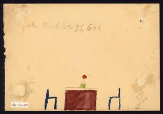 Dům / Interiér - Jiří Mahler (1935-1944), datováno: 21. 6. 1944, akvarel na papíře, 14,7 x 21,2 cm, signováno vlevo nahoře recto i verso: Jirka Mahler 21. 6. 1944. Provenience: vytvořeno v hodinách kreslení organizovaných v letech 1943-1944 v terezínském ghettu malířkou a pedagožkou Friedl Dicker-Brandeis (1898-1944); ve sbírkách Židovského muzea v Praze od roku 1945 ŽMP inv. č. 131.405r / 131.405v