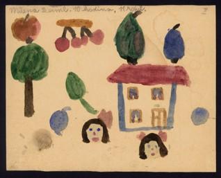 Hlavy, stromy, ovoce, dům - Milena Deimlová (1932-1944), nedatováno (1943-1944), akvarel na papíře, 16,1 x 20,2 cm, signováno vlevo nahoře: Milena Deiml 10. hodina 11 roků. Provenience: vytvořeno v hodinách kreslení organizovaných v letech 1943-1944 v terezínském ghettu malířkou a pedagožkou Friedl Dicker-Brandeis (1898-1944); ve sbírkách Židovského muzea v Praze od roku 1945 ŽMP inv. č. 131.427