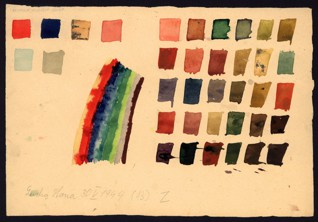 Exercise – color theory - Hana Lustigová (1931–44), May 30, 1944, Watercolor and graphite on paper, 17.2 x 25.2 cm, Signed and dated LL: Lustig Hana 30.5.1944, 13 Z. Provenance: created during the drawing classes in the Terezín Ghetto organized between 1943 and 1944 by the painter and teacher Friedl Dicker-Brandeis (1898–1944); in the Jewish Museum in Prague's collection since 1945. Acc. No. JMP 121.997