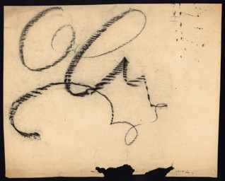 Calligraphic exercise - Petr Ginz (1928–44), Undated (1943–44), Chalk on paper, 26 x 32.8 cm, Unsigned. Provenance: created during the drawing classes in the Terezín Ghetto organized between 1943 and 1944 by the painter and teacher Friedl Dicker-Brandeis (1898–1944); in the Jewish Museum in Prague's collection since 1945. Acc. No. JMP 131.620r