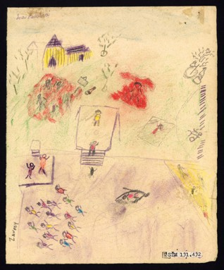 Oasis/By a swimming pool - Jindřiška (Ina) Habalová (1932 – survived), Dated: 25. 4. 1944, Pastel on paper, 21,5 x 17,2 cm, Signed UL: Ina Habalová 1. sk. Provenance: Created during the drawing classes in the Terezín Ghetto organized between 1943 and 1944 by the painter and teacher Friedl Dicker-Brandeis (1898–1944); in the Jewish Museum in Prague's collection since 1945.  Acc. No. JMP 131.432r/131.432v