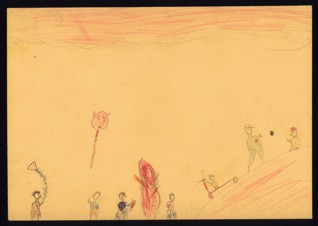 Kite flying (Memories of home) - Zuzana Lieselotta Winterová (1933-1944), Undated (1943-1944), Graphite and colored pencils on paper, 20,4 x 29 cm, Signed on the verso UR: Zuzka Winterová. Provenance: Created during the drawing classes in the Terezín Ghetto organized between 1943 and 1944 by the painter and teacher Friedl Dicker-Brandeis (1898–1944); in the Jewish Museum in Prague's collection since 1945. Acc. No. JMP 133.361