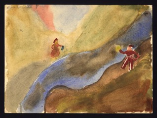 Landscape with a river and two figures - Soňa Fischerová (1931-1944), Undated (1943-1944), Watercolor on paper, 22 x 29,9 cm, Signed UL: Sonja Fischer XIV V. Provenance:  Created during the drawing classes in the Terezín Ghetto organized between 1943 and 1944 by the painter and teacher Friedl Dicker-Brandeis (1898–1944); in the Jewish Museum in Prague's collection since 1945. Acc. No. JMP 130.788