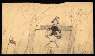Volleyball - Marianna Löblová (1933 – survived), Undated (1943-1944), Graphite on paper, 17,5 x 30,3 cm, Signed LR: Löbl Máňa, II s., S/3. Provenance: Created during the drawing classes in the Terezín Ghetto organized between 1943 and 1944 by the painter and teacher Friedl Dicker-Brandeis (1898–1944); in the Jewish Museum in Prague's collection since 1945. Acc. No. JMP 133.398