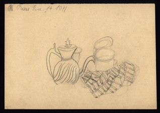 Still life - Eva Riessová (1931 – survived), Undated (1943-1944), Graphite on paper, 20,8 x 29,2 cm, Signed UL: Riess Eva, 14. 10. H. Provenance: Created during the drawing classes in the Terezín Ghetto organized between 1943 and 1944 by the painter and teacher Friedl Dicker-Brandeis (1898–1944); in the Jewish Museum in Prague's collection since 1945. Acc. No. JMP 133.409