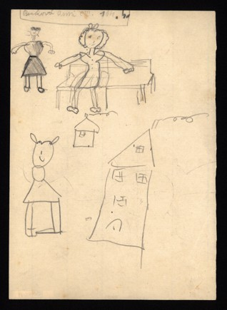 Memory of home - Anna Becková (1931-1944), Undated (1943-1944), Graphite on paper, 14,9 x 21 cm, Signed UL: Becková Anni, C III 104, 4. Provenance: Created during the drawing classes in the Terezín Ghetto organized between 1943 and 1944 by the painter and teacher Friedl Dicker-Brandeis (1898–1944); in the Jewish Museum in Prague's collection since 1945. Acc. No. JMP 162.659r/162.659v