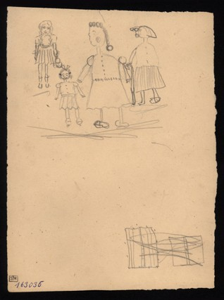 Figure drawing - Jitka Walentiková (1933-1944), Undated (1943-1944), Graphite on paper, 23,2 x 16,9 cm, Signed UL: Valentiková D. , Hamburg C III, 10 roků, 104. Provenance:  Created during the drawing classes in the Terezín Ghetto organized between 1943 and 1944 by the painter and teacher Friedl Dicker-Brandeis (1898–1944); in the Jewish Museum in Prague's collection since 1945.  Acc. No. JMP 163.036r/163.036v