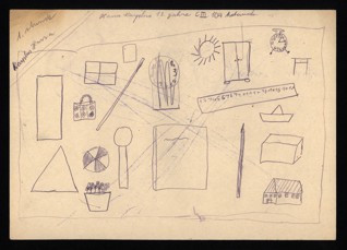 Sketches of objects/Hand relaxation exercise - Hana Erika Karplusová (1930-1944), Undated (1943-1944), Graphite on paper, 20,5 x 32,5 cm, Signed UM: Hana Karplus, 13 Jahre, C III 104, 1. Stunde. Provenance: Created during the drawing classes in the Terezín Ghetto organized between 1943 and 1944 by the painter and teacher Friedl Dicker-Brandeis (1898–1944); in the Jewish Museum in Prague's collection since 1945. Acc. No. JMP 163.056r/163.056v