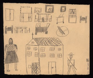 Drawing exercise - Emilie Straková (1934 - survived), Undated (1943-1944), Graphite on paper, 17,5 x 20,6 cm, Signed on the recto UR:C III 104, Emilie Straka, 7.  ph. 9 ro[ků]. Provenance: Created during the drawing classes in the Terezín Ghetto organized between 1943 and 1944 by the painter and teacher Friedl Dicker-Brandeis (1898–1944); in the Jewish Museum in Prague's collection since 1945.  Acc. No. JMP 163.061r/163.061v