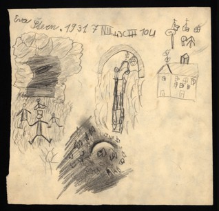 Study of light and shadow - Eva Lora Sternová (1930 - survived), Undated (1943-1944), Graphite and pastel on paper, 22,9 x 23,8 cm, Signed on the recto UL: Eva Štern, 1931, 7 N III, 43 C III 104. Provenance: Created during the drawing classes in the Terezín Ghetto organized between 1943 and 1944 by the painter and teacher Friedl Dicker-Brandeis (1898–1944); in the Jewish Museum in Prague's collection since 1945. Acc. No. JMP 163.195r/163.195v