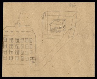 Urban scenery - Unknown author (Stein ?), Undated (1943-1944), Graphite on paper, 20,5 x 25,1 cm, Secondary signature (apparently by a teacher) UR: Stein. Provenance: Created during the drawing classes in the Terezín Ghetto organized between 1943 and 1944 by the painter and teacher Friedl Dicker-Brandeis (1898–1944); in the Jewish Museum in Prague's collection since 1945. Acc. No. JMP 131.371r