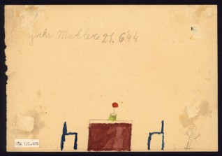 House/Interior - Jiří Mahler (1935-1944), Dated: 21. 6. 1944, Watercolor on paper, 14,7 x 21,2 cm, Signed on the recto and verso UL: Jirka Mahler 21. 6. 1944. Provenance:  Created during the drawing classes in the Terezín Ghetto organized between 1943 and 1944 by the painter and teacher Friedl Dicker-Brandeis (1898–1944); in the Jewish Museum in Prague's collection since 1945.  Acc. No. JMP 131.405r/131.405v