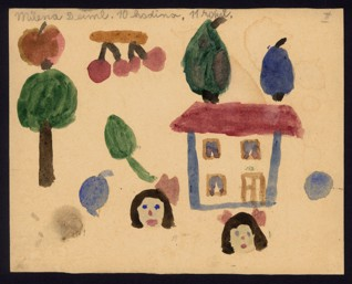Heads, trees, fruit, house - Milena Deimlová (1932-1944), Undated (1943-1944), Watercolor on paper, 16,1 x 20,2 cm, Signed UL: Milena Deiml 10. hodina 11 roků. Provenance: Created during the drawing classes in the Terezín Ghetto organized between 1943 and 1944 by the painter and teacher Friedl Dicker-Brandeis (1898–1944); in the Jewish Museum in Prague's collection since 1945. Acc. No. JMP 131.427