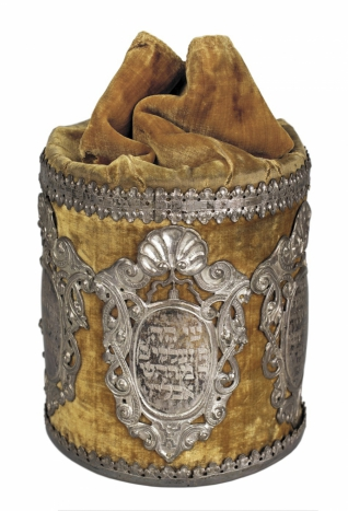 Volební urna Pohřebního bratrstva - Inv. č. ŽMP 004.526, Mikulov, pol. 18. stol., dřevo, samet, stříbro, vystaveno ve stálé expozici v Obřadní síni