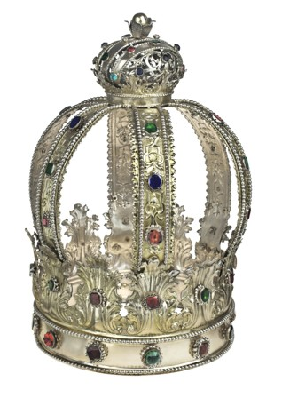 Torah crown - Inv. No. JMP 037.746 Silver, Prague, 1723, Filip Oberholzer Hammered, chased and partly gilt The oldest preserved Torah crown from Bohemia, acquired by the museum before the war