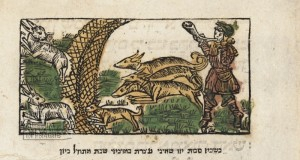 Songs of the Sabbath and Grace after Meals. The Hare Hunt, coloured woodcut. - Seder zmirot u-birkat ha-mazon. Prague: Gershom ben Solomon ha-Kohen, Meir ben Jacob ha-Levi et al., 1514; accession no. 168.451