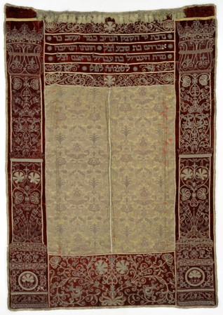 Torah curtain of Jacob Bassevi - Inv. No. JMP 027.396, silk embroidery in metal thread, appliquéd bullion, cord, paillettes, Bohemia (Prague), 1623, acquired by the museum in 1942-45 from the 'Old-New Synagogue' collection point in Prague
