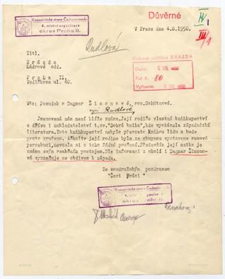 foto4.jpg - Kádrový posudek z roku 1950 na Dagmar Rudlovou, tehdy Šimonovou. Rozhovor s pamětnicí byl nahrán v roce 2012.