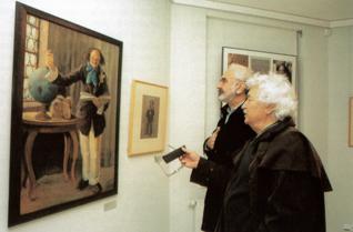 13.png - Actors and playwrights Ladislav Smoljak and Zdeněk Svěrák visiting an exhibition in the Robert Guttmann Gallery (2001)