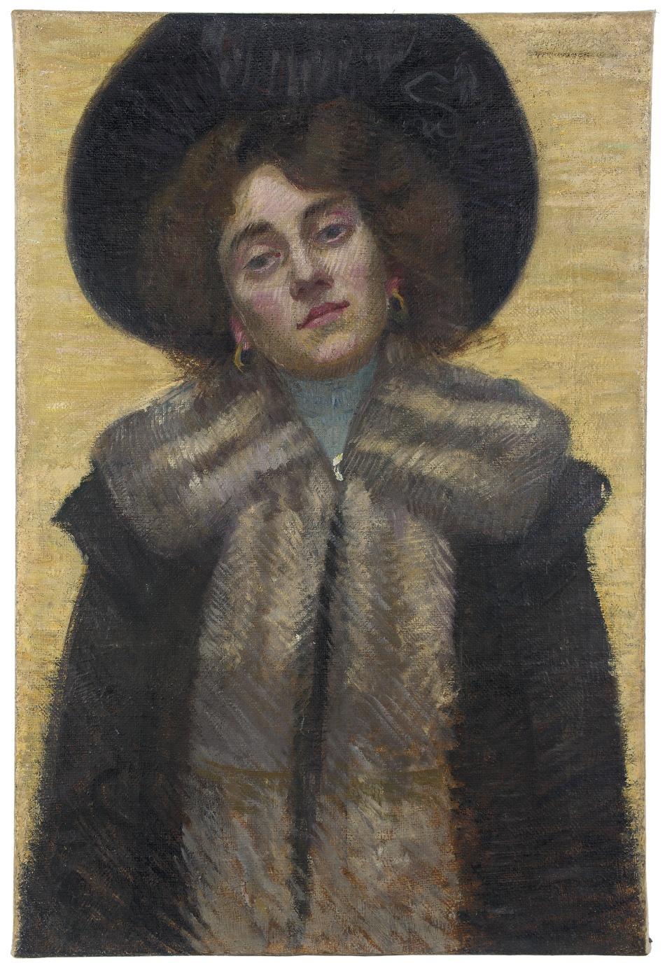 Portrét dívky s pláštěm lemovaným kožešinou
