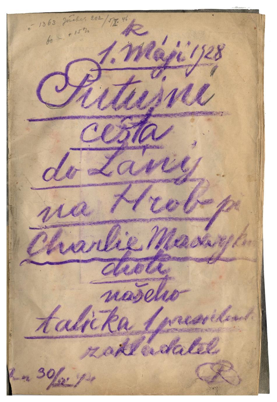 Pamětní sešit z cesty do Lán na hrob Charlotte Garrigue Masarykové (1850–1923)